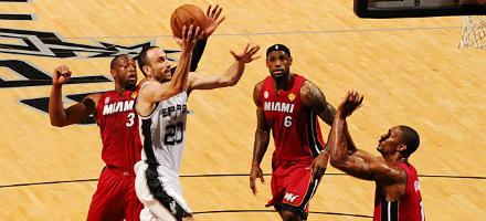 """Ginobili ancora """"brevi manu"""" ma i Big Three di Miami sono al loro minimo storico"""