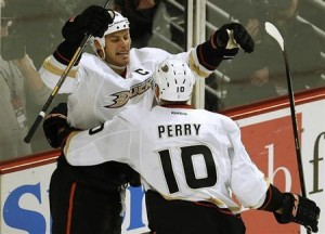 Anaheim Ducks' Getzlaf celebrates his goal against the Chicago Blackhawks during their NHL game in Chicago