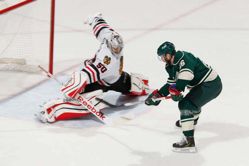 67 parate in due partite per Corey Crawford nelle due partite giocate in Minnesota