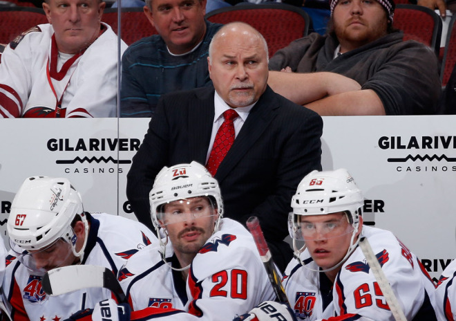 GLENDALE, AZ - NOVEMBER 18: Head coach Barry Trotz of the Washington Capitals looks on from the bench during the NHL game against the Arizona Coyotes at Gila River Arena on November 18, 2014 in Glendale, Arizona. The Capitals defeated the Coyotes 2-1 in overtime. (Photo by Christian Petersen/Getty Images) ORG XMIT: 507047813