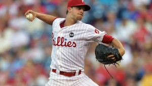 PHILADELPHIA, PA - AUGUST 01: Starting pitcher Aaron Nola #27 of the Philadelphia Phillies delivers a pitch in the second inning against the Atlanta Braves at Citizens Bank Park on August 1, 2015 in Philadelphia, Pennsylvania. (Photo by Drew Hallowell/Getty Images)
