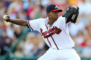 March 14, 2012; Lake Buena Vista, FL, USA; Atlanta Braves starting pitcher Julio Teheran (27) pitches in the third inning of the game against the Washington Nationals at Champion Stadium. Mandatory Credit: Daniel Shirey-USA TODAY Sports