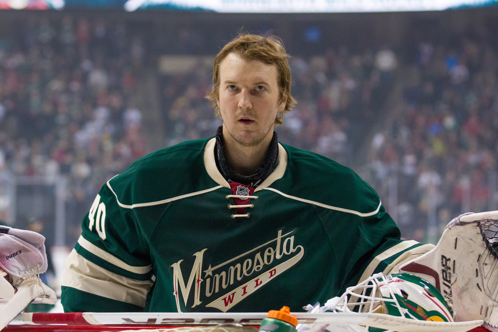 JAN 17, 2015: Minnesota Wild goalie Devan Dubnyk makes his home debut against the Arizona Coyotes at Xcel Energy Center, St. Paul, MN. The Minnesota Wild beat the Arizona Coyotes 3-1.