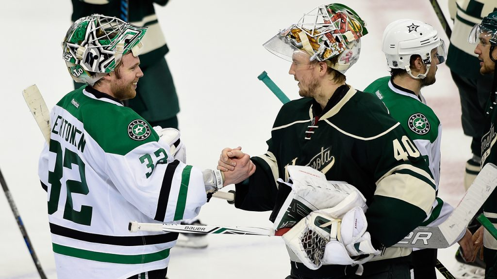 ST PAUL, MN - APRIL 24: Kari Lehtonen #32 of the Dallas Stars and Devan Dubnyk #40 of the Minnesota Wild shake hands after Game Six of the Western Conference First Round during the 2016 NHL Stanley Cup Playoffs on April 24, 2016 at Xcel Energy Center in St Paul, Minnesota. The Stars defeated the Wild 5-4. (Photo by Hannah Foslien/Getty Images)