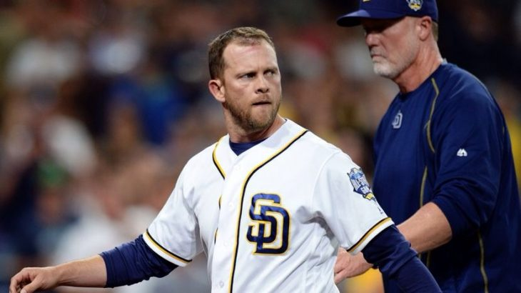 Apr 19, 2016; San Diego, CA, USA; San Diego Padres manager Andy Green (L) is led back to the dugout by bench coach Mark McGwire after being ejected during the third inning against the Pittsburgh Pirates at Petco Park. Mandatory Credit: Jake Roth-USA TODAY Sports