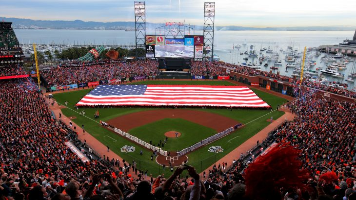 SAN FRANCISCO - OCTOBER 27:  A giant American flag is displayed on the field before Game One of the 2010 MLB World Series against the San Francisco Giants at AT&T Park on October 27, 2010 in San Francisco, California.  (Photo by Doug Pensinger/Getty Images)