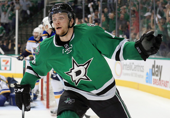 DALLAS, TX - APRIL 29: Radek Faksa #12 of the Dallas Stars celebrates after scoring the game winning goal against Brian Elliott #1 of the St. Louis Blues in the third period in Game One of the Western Conference Second Round during the 2016 NHL Stanley Cup Playoffs at American Airlines Center on April 29, 2016 in Dallas, Texas. (Photo by Tom Pennington/Getty Images)